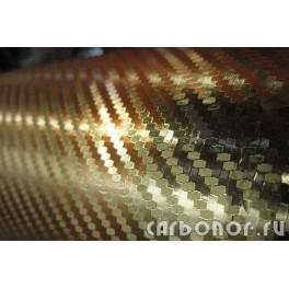 Карбоновая пленка 3D золотая.